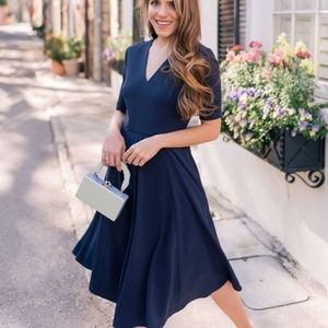 Gal Meets Glam edith city crepe fit flare dress